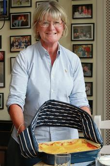 Louise Burke prepares dinner for her students at home in Glenageary. Pic: Ronan Lang