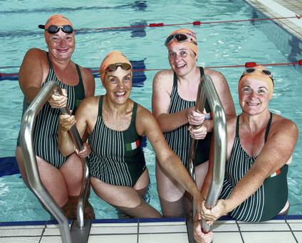 Channel swimmers Patricia Heffernan, Deirdre Byrne Dunne, Bridie Power and Lisa Finn Carroll at the Deaf Village Ireland pool in Cabra. Photo: Ronan Lang/Feature File