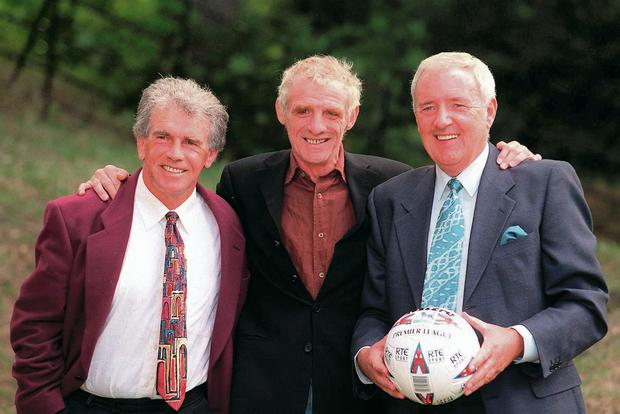 Bill O'Herlihy with RTÉ soccer pundits John Giles and Eamon Dunphy in 1998