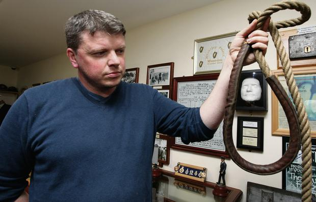 Death penalty: reporter Graham Clifford holds the hangman's noose in the Mountjoy Museum, a grim reminder of a form of punishment meted out until as recently as 1954. Photo: Martin Maher.