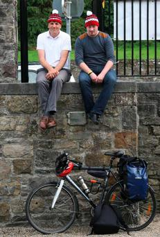 Kim Bielenberg travels around Boyle on bike on the Moone Boy Trail with creator Enda Regan. Photo: Brian Farrell.