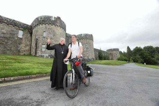 Kim Bielenberg with The Glenstal Community Abbot, Fr Mark Patrick Hederman, in Glenstal Abbey