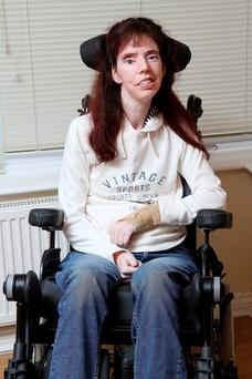 Dawn Faizey-Webster, a sufferer of locked in syndrome pictured at her home.