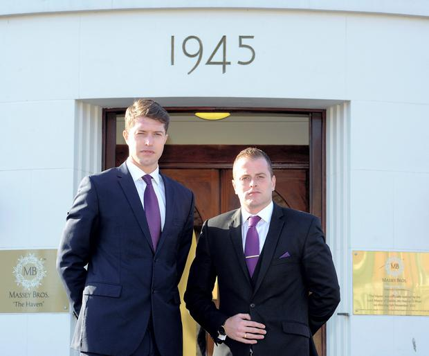 Peter and Robert Massey at their funeral home in Crumlin