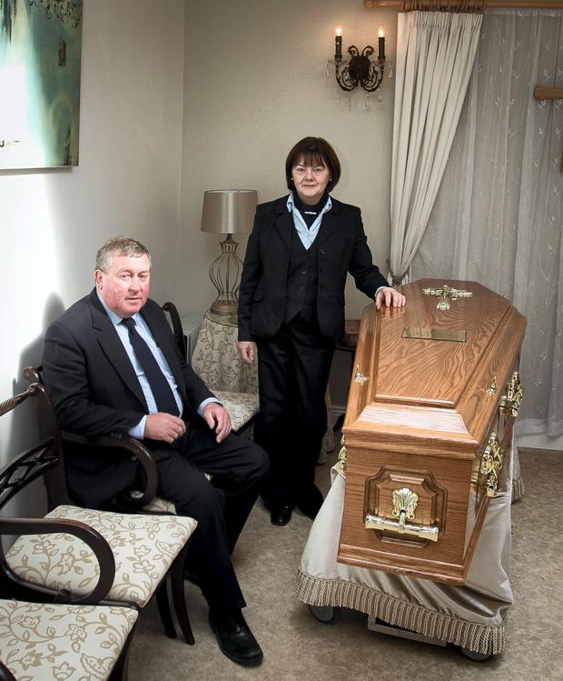 Tony and Regina Clarke at Clarkes funeral home, Blessington, Co Wicklow