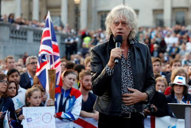 Bob Geldof speaks at the Let's Stay Together event in London - his intervention was inappropriate