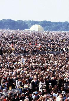 The crowds in the Phoenix Park during the visit of Pope John Paul II in 1979