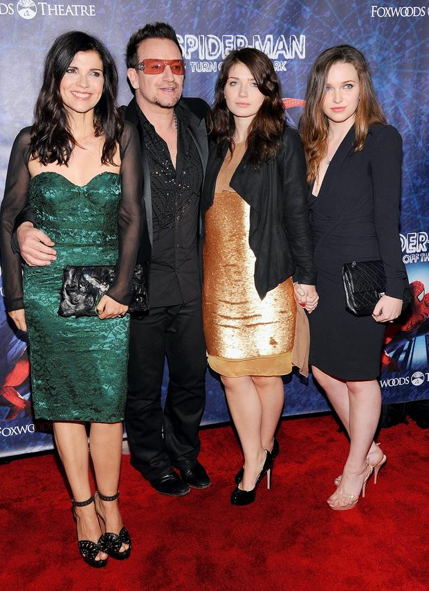 Ali Hewson, Bono, Eve and sister Jordan support Bono at the 'Spider- Man Turn Off The Dark' Broadway opening night in 2011.
