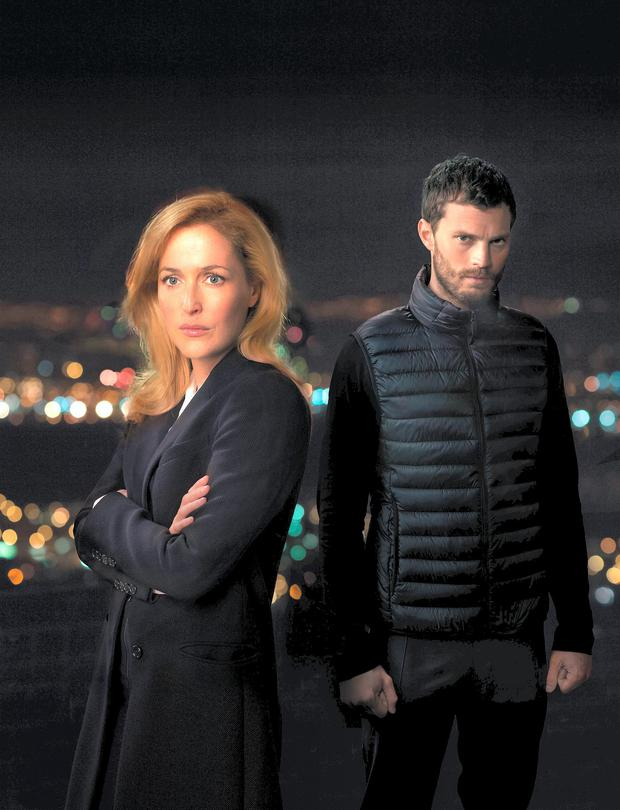 Catch me if you can: Gillian Anderson and Jamie Dornan as DSI Stella Gibson and serial killer Paul Spector.