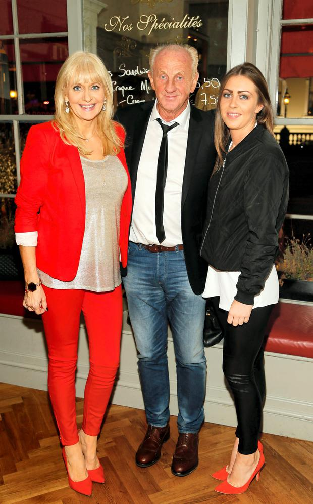Paul Costelloe with Miriam O'Callaghan and her daughter Alannah McGurk at the launch of Paul Costelloe Living Studio, an exclusive capsule womenswear collection for Dunnes Stores at The Dawson Brasserie. Photo: Kieran Harnett