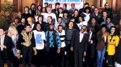 USA For Africa at the recording session for 'We Are The World'