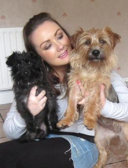 Vicki with her rescue dogs Dora and Jacko