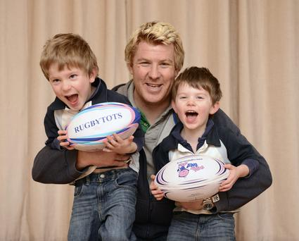 Mark McHugh, with his children Jacques (right) and Lucas.