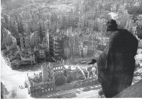Wanton destruction: The city of Dresden after the RAF dropped 4,5000 tons of explosives, killing 25,000 people.