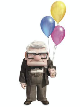 Up: Carl Fredricksen defies the odds by attaching thousands of helium balloons and saves his home