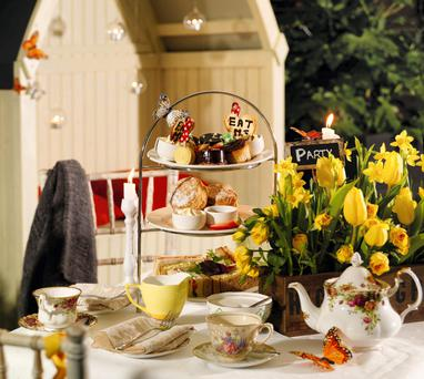 Traditional afternoon tea in The Secret Garden at the Strand Hotel in Limerick.