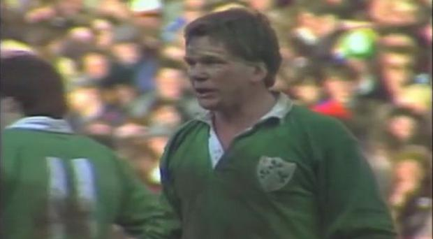 A moment of truth: Captain Ciaran Fitzgerald rallies the troops against England at Lansdowne Road in a Triple Crown winning year