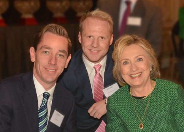 Ryan Tubridy, James Morrissey Jr and Hillary Clinton at the Irish America Hall of Fame event in New York.