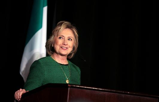 Hillary Clinton speaks on stage during a ceremony to induct her into the Irish America Hall of Fame on March 16 in New York City.