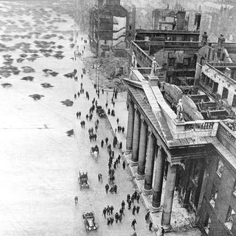 The shattered remains of the General Post Office in Sackville Street, Dublin, after the Easter Rising.