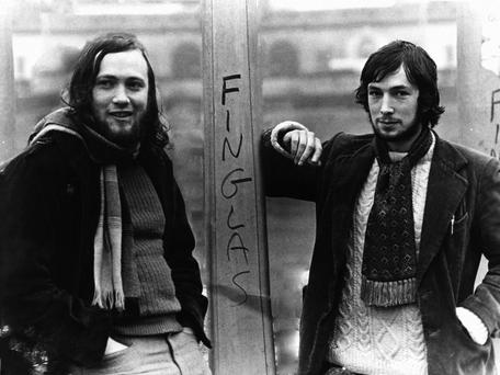 Dermot Bolger (on left) with poet Michael O'Loughlin in the 1970s