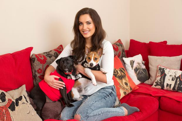 Holly Carpenter and her dogs Toby and Gus. Photo: Mark Condren