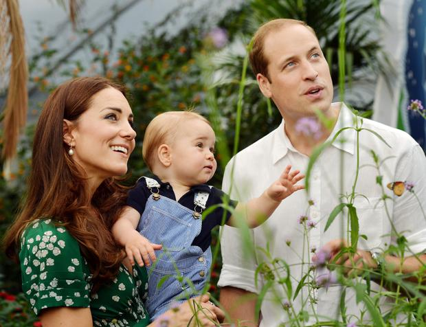 July 2015: Prince William and Kate with Prince George in an official family portrait
