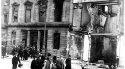 Ruins: Wynns Hotel on Dublin's Abbey Street after it was damaged by a bomb in 1916