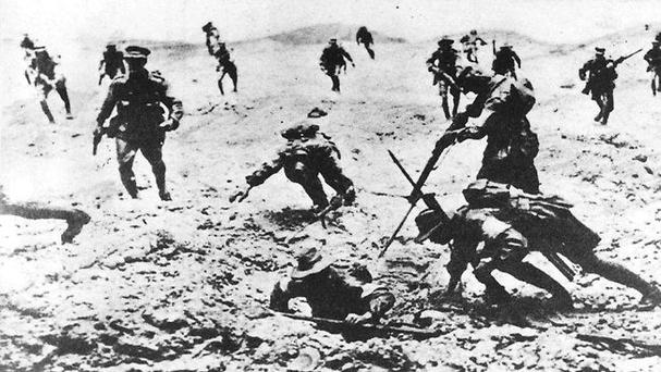 Bloodbath: Allied soldiers at Lone Pine attack Turkish trenches at Gallipoli in 1915
