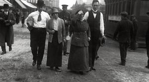 Survivors from the 'Lusitania', which was sunk by a German U-boat torpedo, walking the streets of Cobh, County Cork.