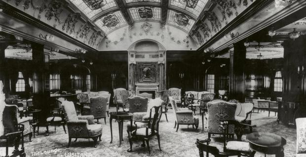 The magnificent lounge of the Cunard steamship Lusitania