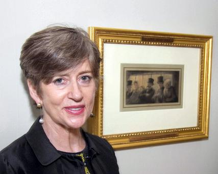 Barbara Dawson with the 'missing' Daumier at the Hugh Lane Gallery.