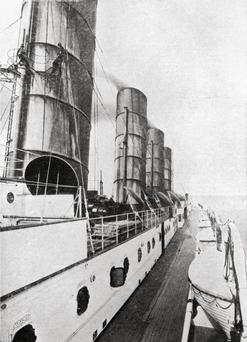 A view on the deck of the Cunard liner Lusitania in early 1915.