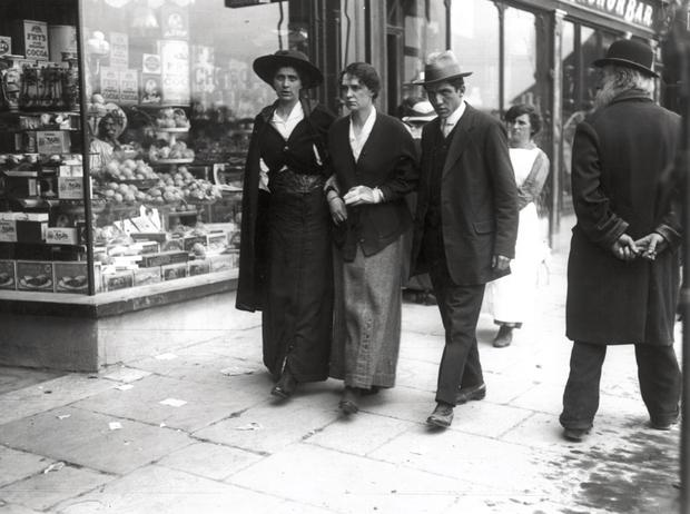 Lusitania survivors on the streets of Cobh following the disaster on May 7th, 1915.