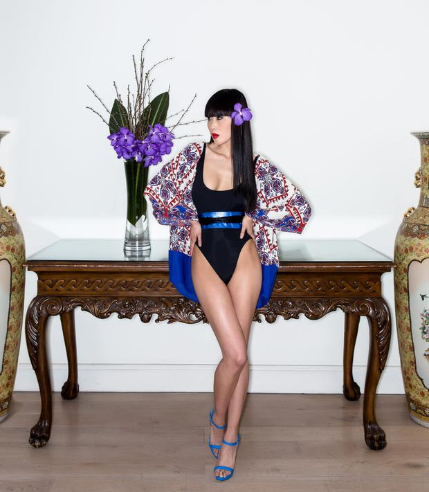 Kimono, Zara. Shoes, River Island. Bodysuit; belt, both stylist's own. Photo: Kip Caroll