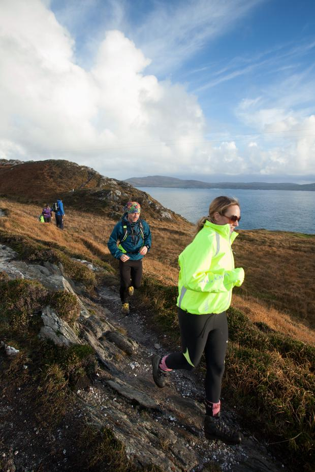 Take the rough with the smooth: Kathryn Thomas enjoys a scenic run on Inish Beg terrain