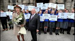 Michael D and Sabina at the Service of Remembrance and Reclaimation for the 40 children who were killed in the Easter Rising 1916