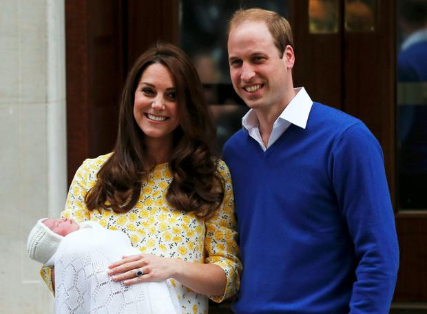 Kate Middleton and Prince William present Princess Charlotte to the world on the steps of the Lindo Wing at St Mary's hospital in London