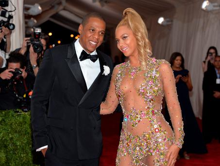 Wispy: Beyonce steps out with Jay-Z in gauze with some strategically placed sequins
