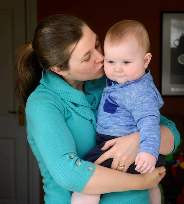 Mammy's boy: Chrissie Russell with her 7 month year old son Tom