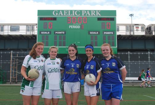 Aoife McGirl, Stefanie Beausang, Mary Naughton, Rosie O Reilly and Aoife O Rourke at Gaelic Park in The Bronx, New York.