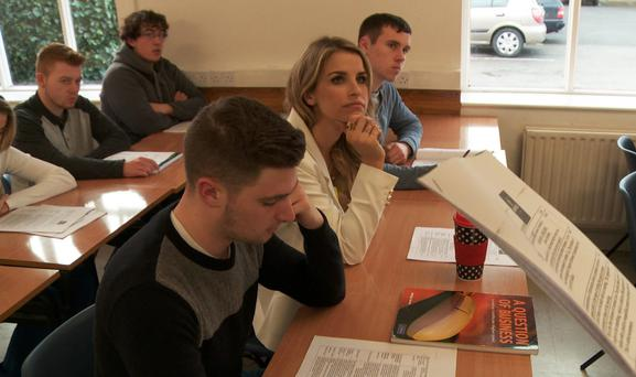 Vogue Williams goes back to school
