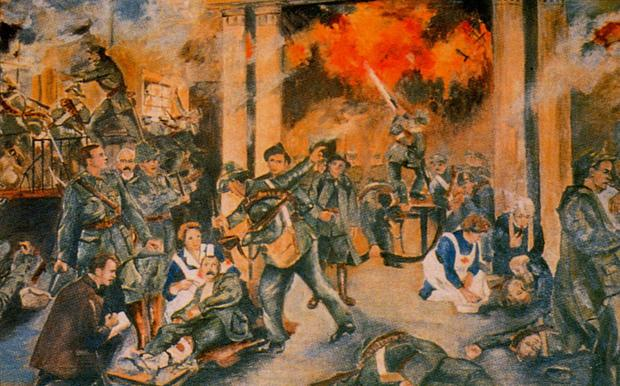 An image of the fighting in the GPO during the rising