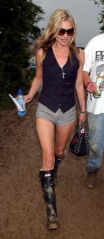 Kate Moss at Glastonbury 2005 in the outfit that would spawn festival fashion for years to come.