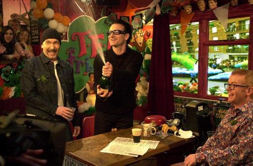 The Edge and Bono were special guests of the Irish special which filmed in Eamon Doran's in Dublin in 2000