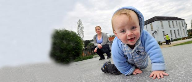 Baby and me: Lisa Ryan and 14 month old son Ethan. Photo: Daragh Mc Sweeney/Provision