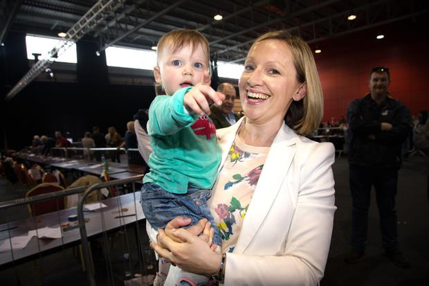 Lucinda Creighton and her daughter Gwendolyn (15 months). Photo: Tony Gavin.
