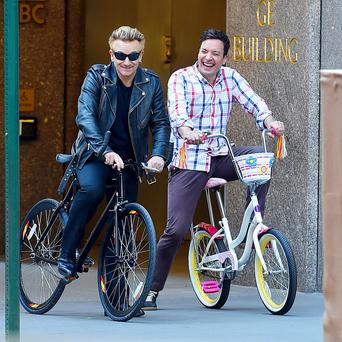 Gentle self-mockery: Bono and Jimmy Fallon.