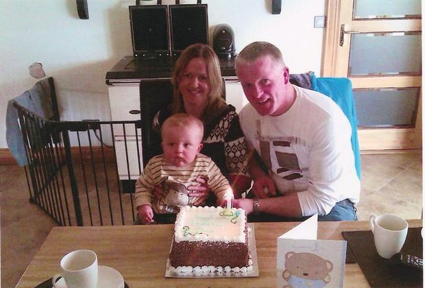 Elber Twomey with her husband Con and son Oisin, who were both killed in a car crash in 2012