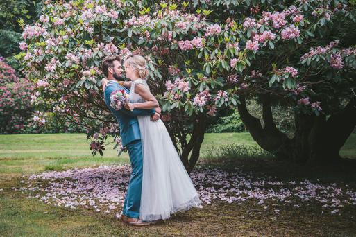 In bloom: Lynne and Barry on their wedding day